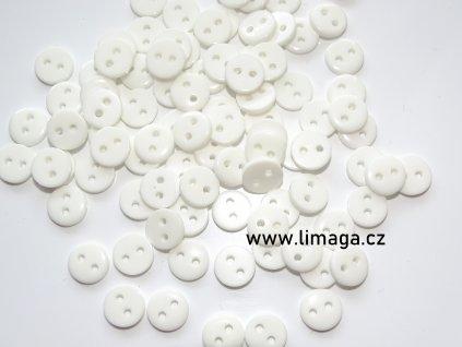 knoflík bílý kulatý 8mm
