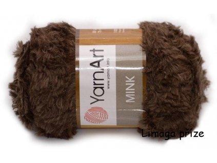 Příze Mink 333 čokoládově hnědá  pletací a háčkovací příze, 100% polyamid