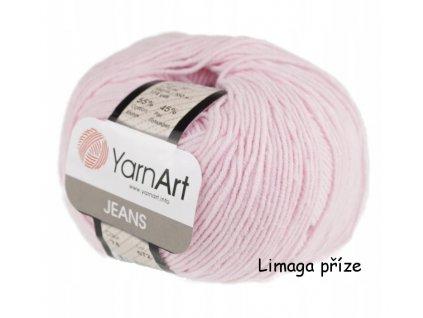 Příze Gina (Jeans) 74 pastelově růžová  pletací a háčkovací příze, 55% BAVLNA, 45% AKRYL