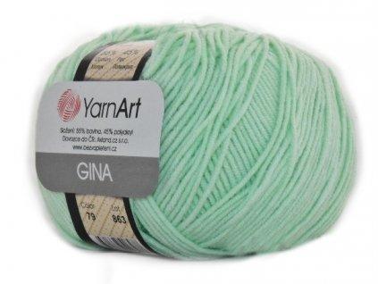 Příze Gina (Jeans) 79 pastelově zelená  pletací a háčkovací příze, 55% BAVLNA, 45% AKRYL