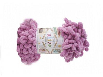 Příze Puffy 98 růžovo-fialová  PLETENÍ NA RUKOU 100% POLYESTER