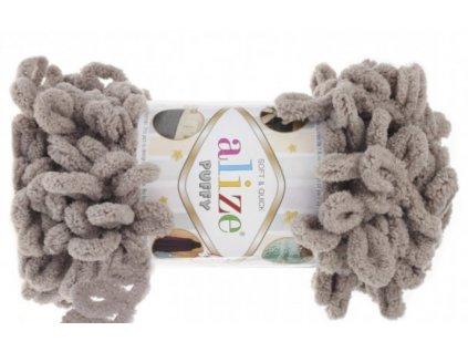 Příze Puffy 268 šedohnědá  Pletení na rukou 100% polyester