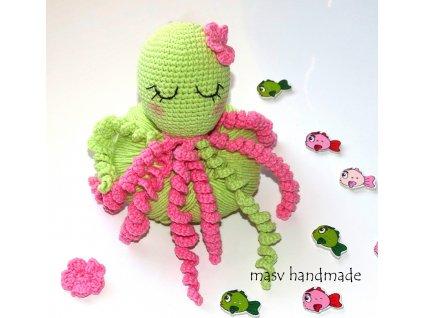 """Háčkovaná chobotnice """"zelené jablíčko""""  masv handmade"""