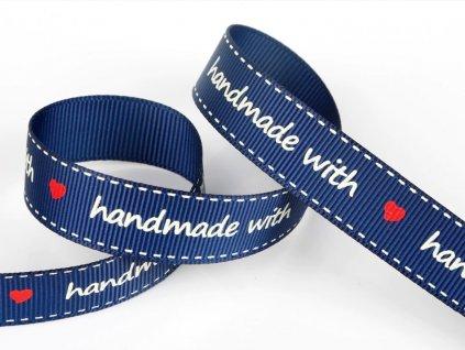 Bavlněná stuha handmade 16mm modrá