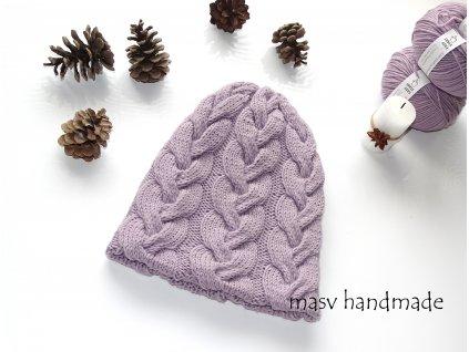 Pletená čepice s copánky lila 100% merino  masv handmade