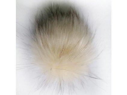 Bambule 58 krémová s hnědými konci  Bambule ozdobná na čepice, PRŮMĚR 13 CM