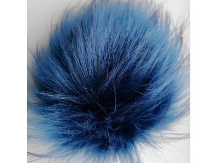 Bambule 103 modrá tmavě modrý střed  Bambule ozdobná na čepice, PRŮMĚR 13 CM