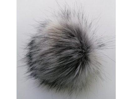 Bambule 82 středně šedá černé konce  Bambule ozdobná na čepice, PRŮMĚR 13 CM