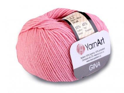 Příze Gina (Jeans) 36 světle růžová  pletací a háčkovací příze, 55% BAVLNA, 45% AKRYL