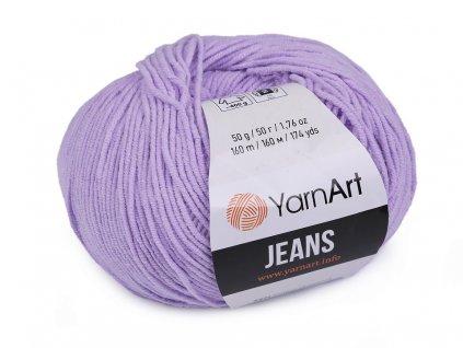 Příze Gina (Jeans) 89 fialková  PLETACÍ A HÁČKOVACÍ PŘÍZE, 55% BAVLNA, 45% AKRYL