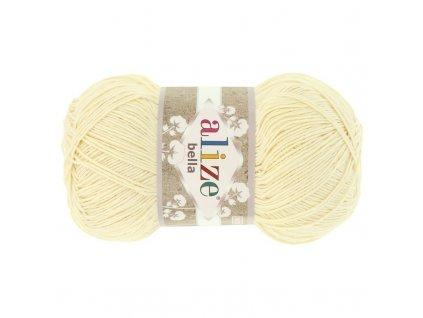 PŘÍZE BELLA 01 SMETANOVÁ  pletací a háčkovací příze, 100% bavlna