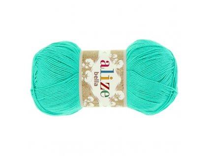 Příze Bella 477 zelený tyrkys  pletací a háčkovací příze, 100% bavlna