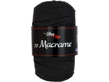 Příze pp Macrame 4001 černá  pletací a háčkovací příze, 100% polyester