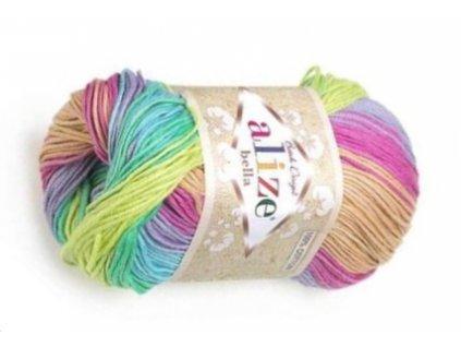 Příze Bella batik 4151  pletací a háčkovací příze, 100% bavlna