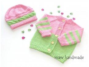 Kojenecká soupravička růžovo zelená  masv handmade