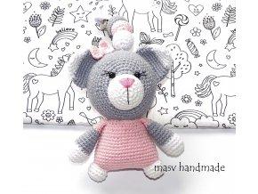 Kočičí medvídek - chrastítko na kočárek  masv handmade