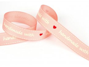 Bavlněná stuha handmade 16mm růžová