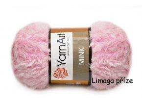 Příze Mink 347 světle růžová  pletací a háčkovací příze, 100% polyamid