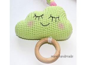 Obláček - chrastítko na kočárek  háčkované dekorace handmade