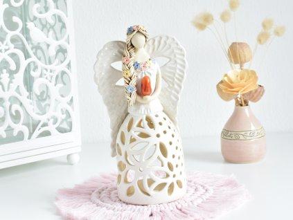 Andělka na svíčku s Karneolem