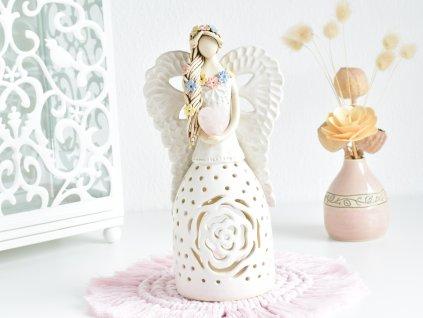 Anděl na svíčku se srdíčkem Růženínu