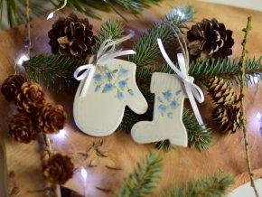 Vánoční ozdoby pomněnkové - sada 2ks