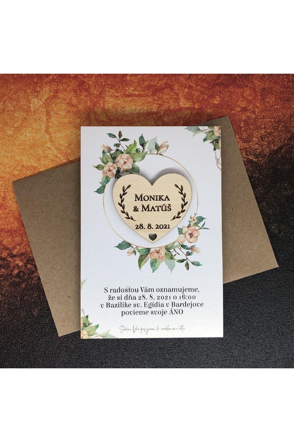 Oznámenie s drevenou magnetkou - ruže