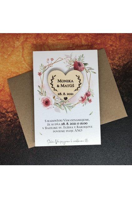 Oznámenie s drevenou magnetkou - floral