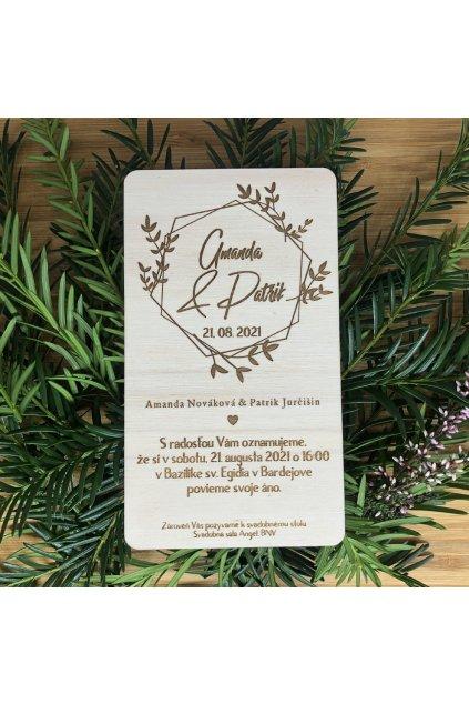 Drevené svadobné oznámenie - floral