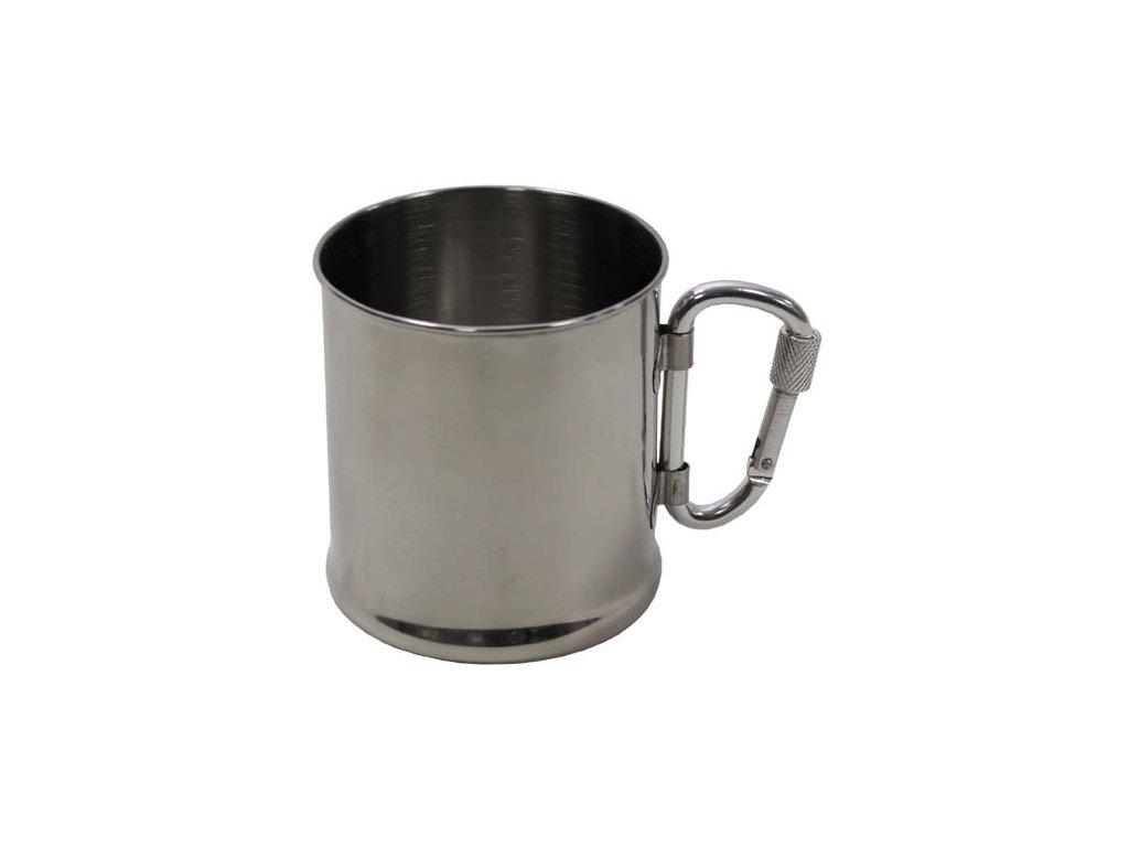 Hrnek nerezový MFH 33382 s karabinkou - 220 ml
