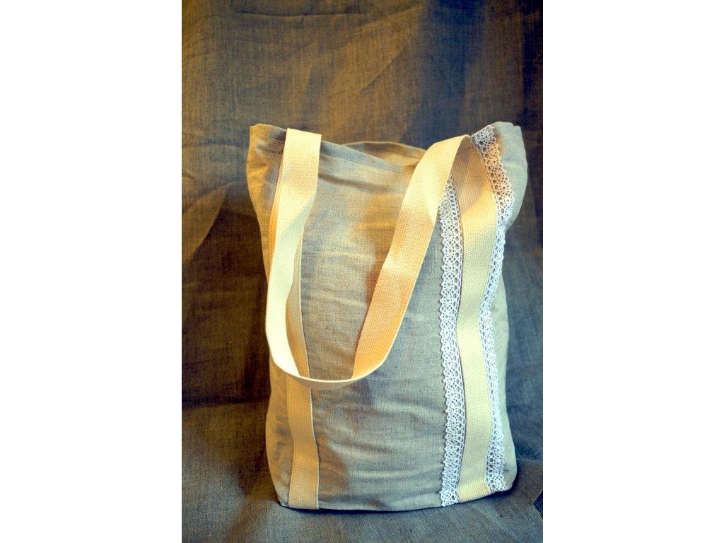 Lněná nákupní taška - přátelská k přírodě, krajka