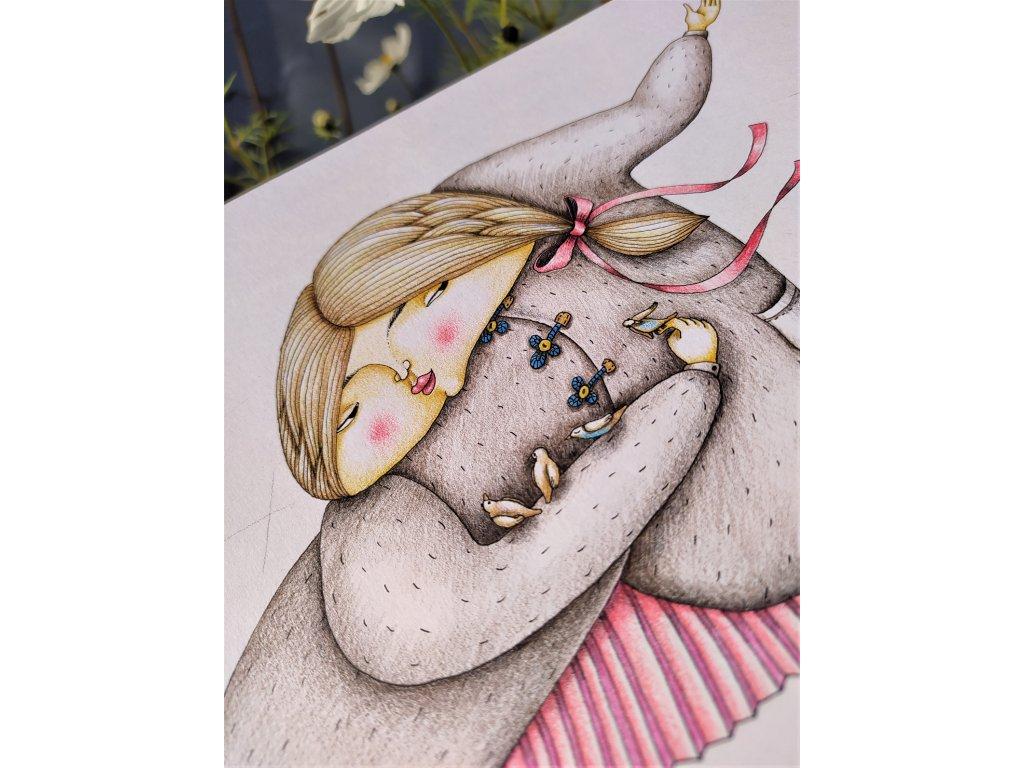 Obrázek, Dívka s ptáčky