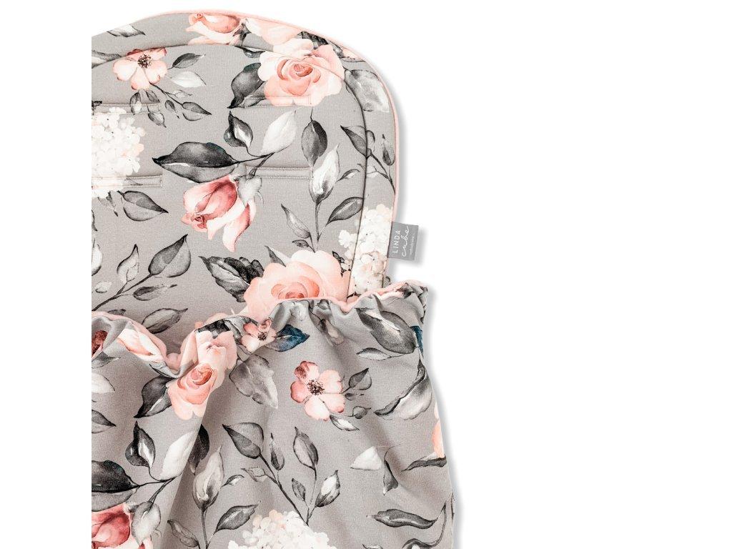 Podložka s dekou- Růžové květy na šedé