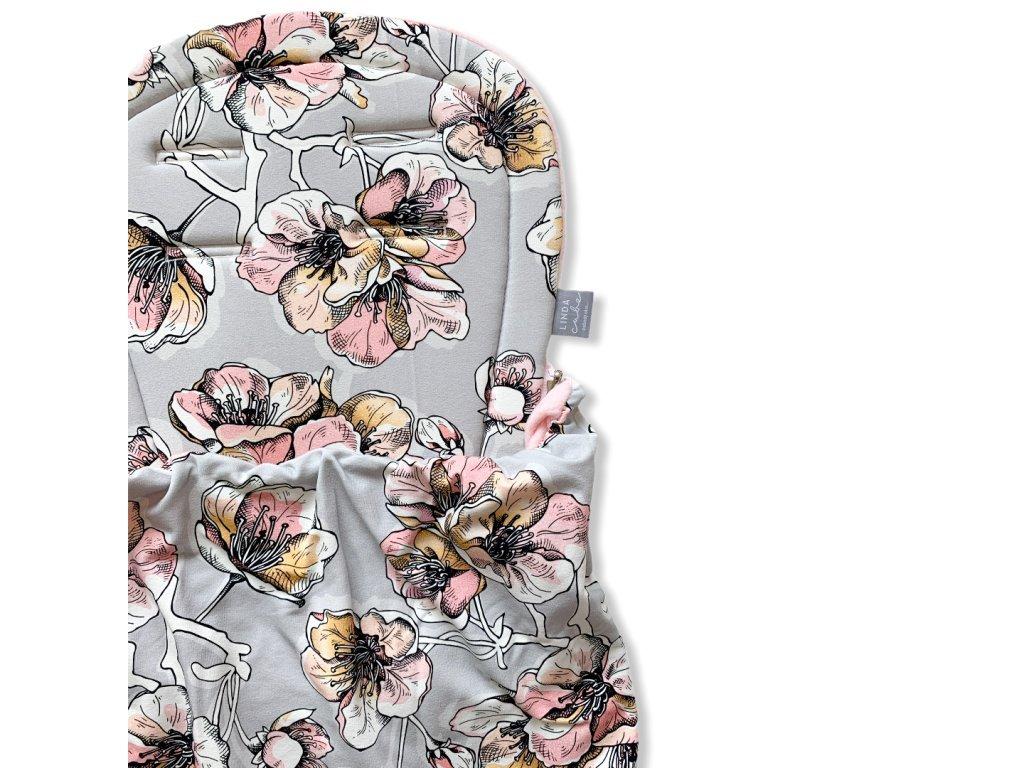 Podložka s dekou- Pudrové květy na šedé