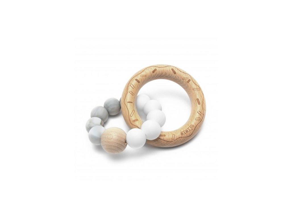 Silikonové kousátko Mimijo Donut Duo bílá + mramorová