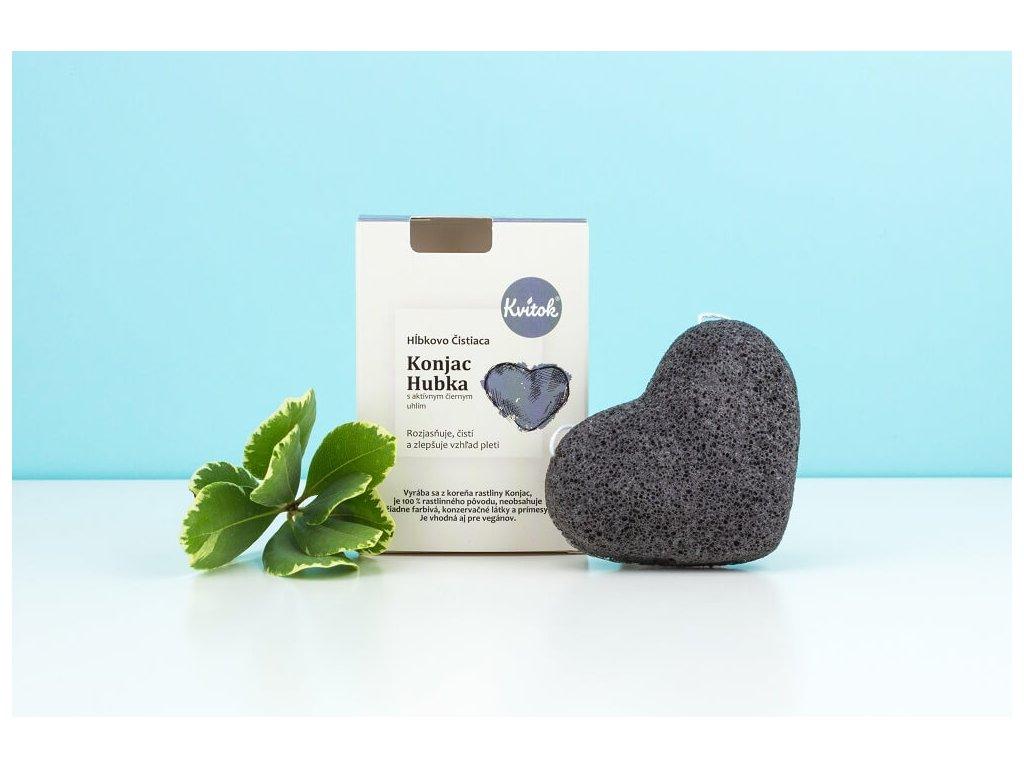 KVITOK Konjaková houba s aktivním černým uhlím