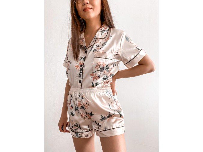 Saténové pyžamo s květinami - Lexi