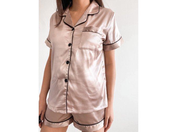 Luxusní saténové pyžamo - krátký set