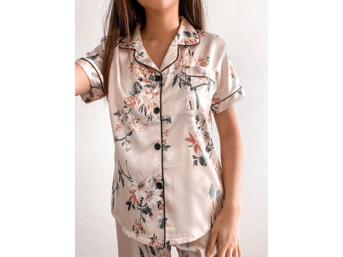 Květinové saténové pyžamo - dlouhý set
