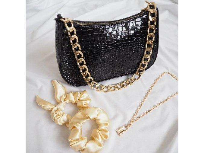 Stylová kabelka se zlatým řetězem - Croc