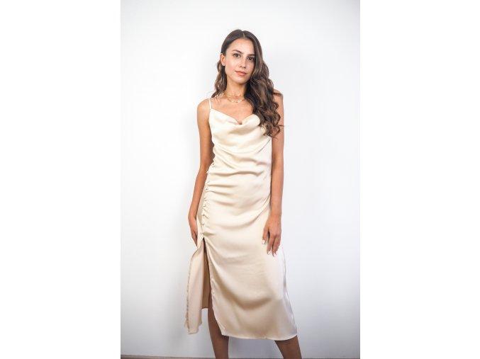 Saténové šaty s rozparkem - Jenny (champagne)