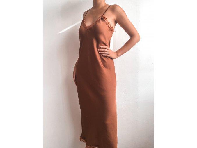 Satin slip dress šaty s krajkou - Olivia