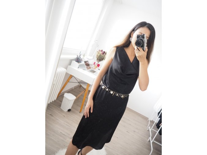 Elegantní saténové šaty s páskem - Natali