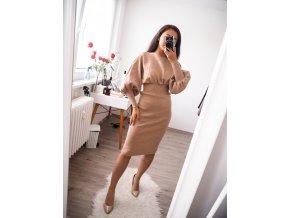 Camel luxusní elegantní šaty - Martina