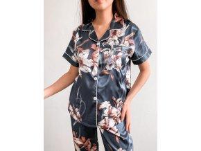 Modré saténové pyžamo - dlouhý set
