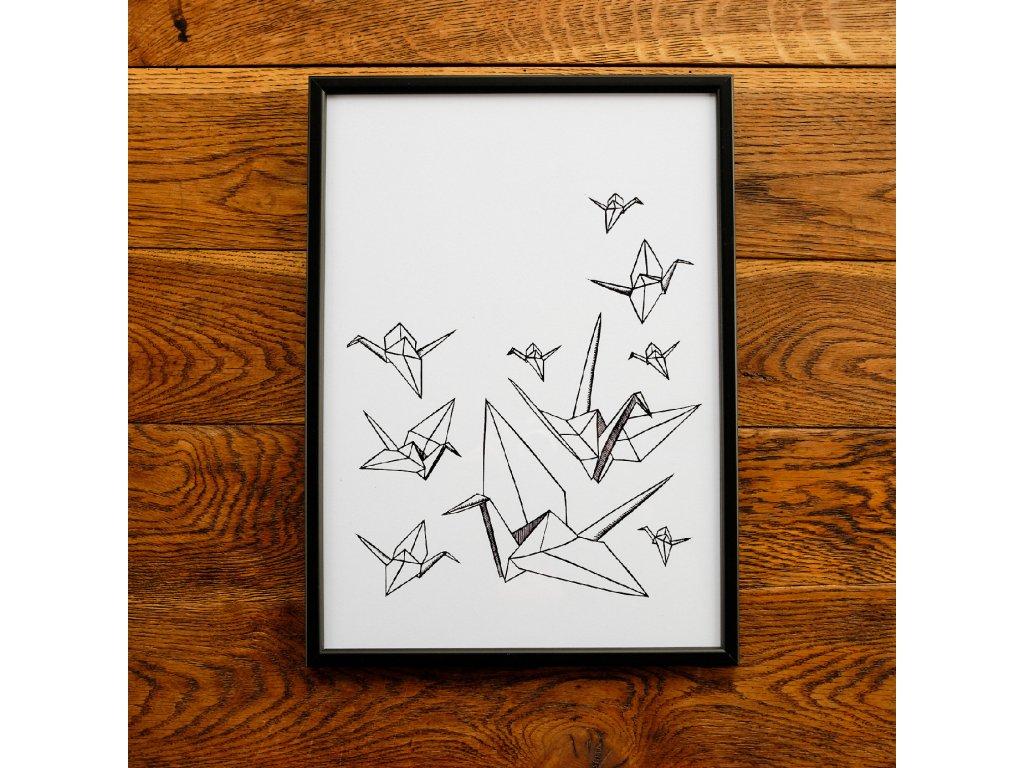 Origami jeřáb A3