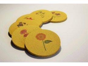 Sada podtácků Květiny  6 ks na barve fresh pinapple