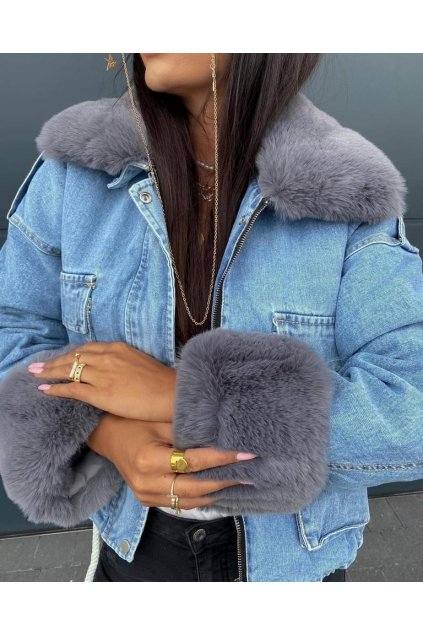 Džínová bunda Deluxe šedá