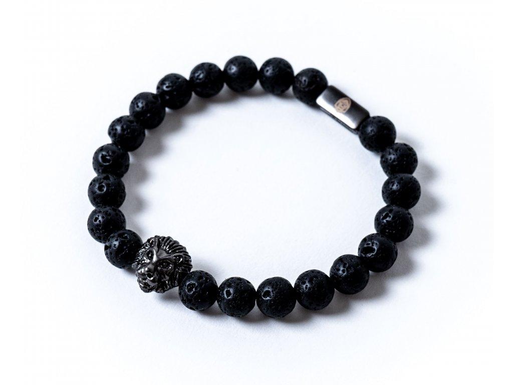 Náramek černý lev lávové kameny (3)