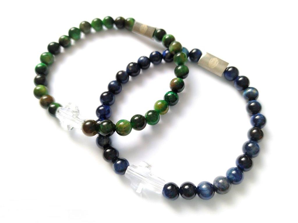 Párové Náramky Kříž SWAROVSKI│Tygří oko zelené a modré
